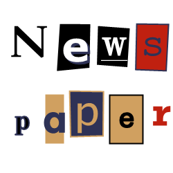 Newspaper cutouts multiple outlines custom text ravie retro hotel